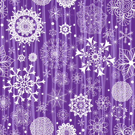 Violet pastel seamless Christmas striped pattern with snowflakes and stars, vector eps 8