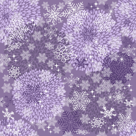 Violet seamless Christmas pattern with balls, snowflakes and stars, vector eps 8