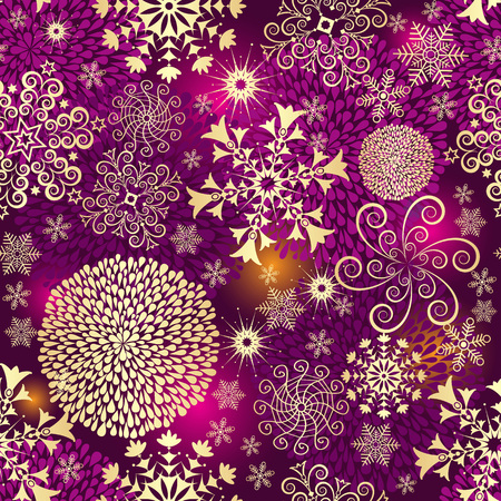 Purple seamless Christmas pattern with golden balls, snowflakes and stars, vector eps 8 Illustration