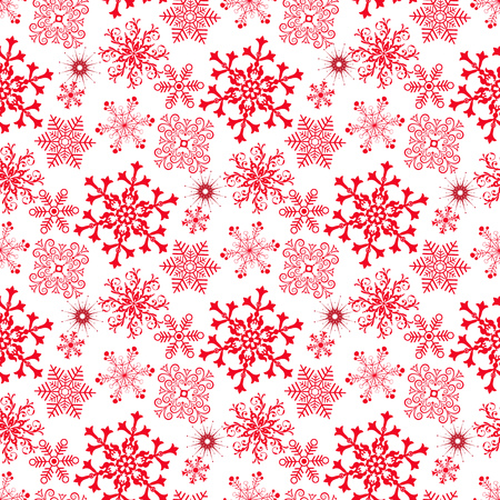 Monochrome seamless christmas pattern with red snowflakes  on a transparent background Illustration