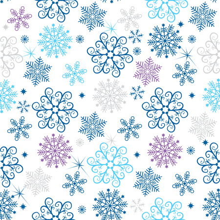 Winter seamless christmas pattern with colorful snowflakes  on a transparent background
