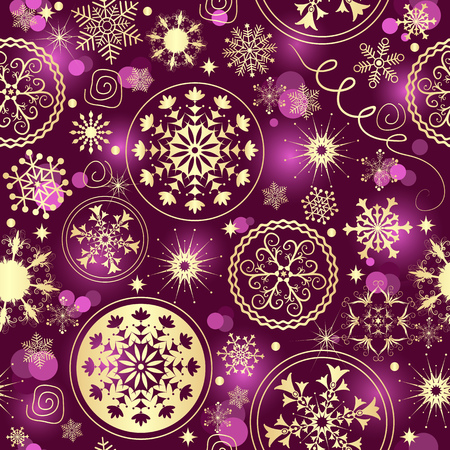 Purple gradient Christmas seamless pattern with golden snowflakes and balls, vector eps 8