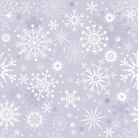 Modello di natale senza cuciture invernale grigio pastello con fiocchi di neve, vettoriale eps 8