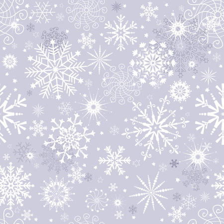 Pastelowy szary zima bezszwowe Boże Narodzenie wzór z płatkami śniegu, wektor eps 8
