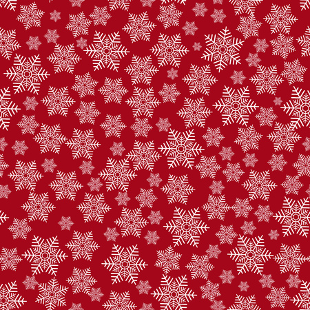 Seamless christmas red pattern with white snowflakes Illustration