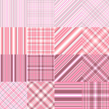 Set abstract diagonal striped seamless pattern with white, gray and pink strips Иллюстрация