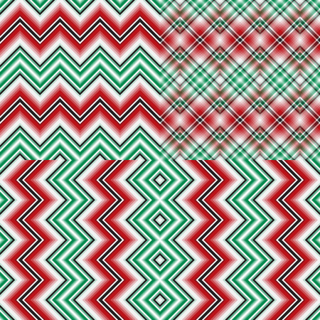 Set abstract striped zigzag christmas seamless patterns with colorful strips Vettoriali
