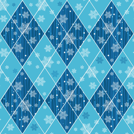 Seamless christmas pattern with blue rhombuses and snowflakes, vector eps 8