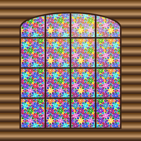 Antique large window with a multi-colored stained-glass window against the background of the log wall. Stock Vector - 120939138