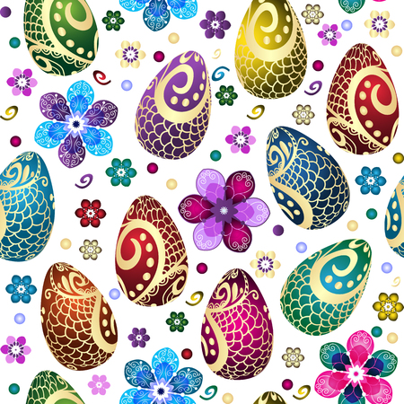 Festive Easter seamless pattern with decorated eggs and flowers on a transparent background. Vector image. Eps 10