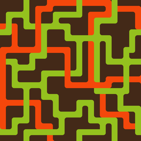 Seamless pattern with interlacing orange and green lines on brown background. Retro style. Иллюстрация
