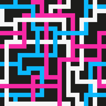 Seamless pattern with interlacing white and blue and pink lines on black background. Retro style.