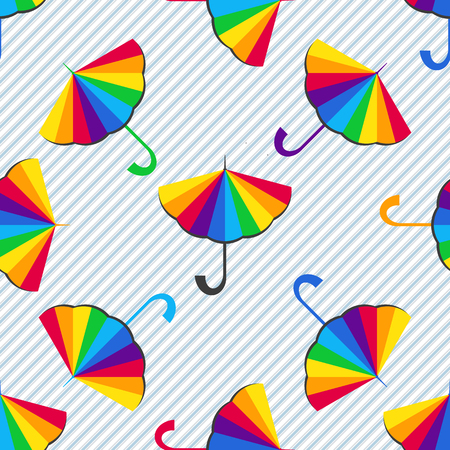 Seamless pattern with multi-colored umbrellas with diagonal stripes. Vector image. Eps 8