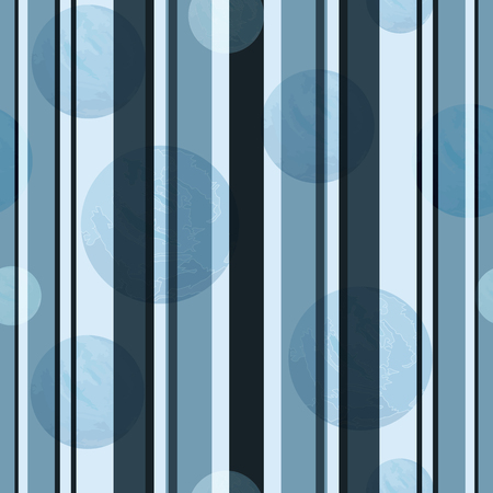Gray-blue  seamless pattern with vertical stripes and grunge polka dots. Vector image. Eps 10