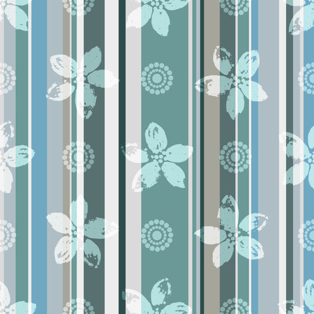 Elegant green-gray-blue  seamless pattern with vertical stripes and grunge white flowers. Vector image. Eps 10