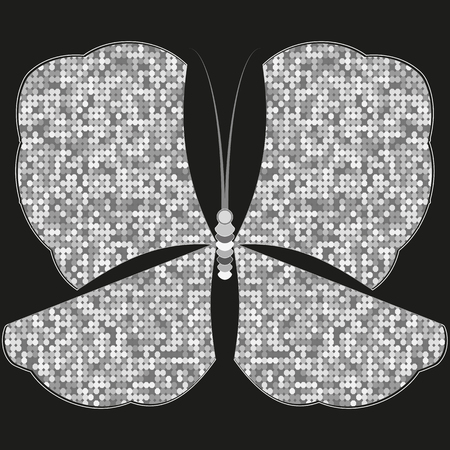 Sparkling silver butterfly of polygons on black background. Vector image. Eps 10