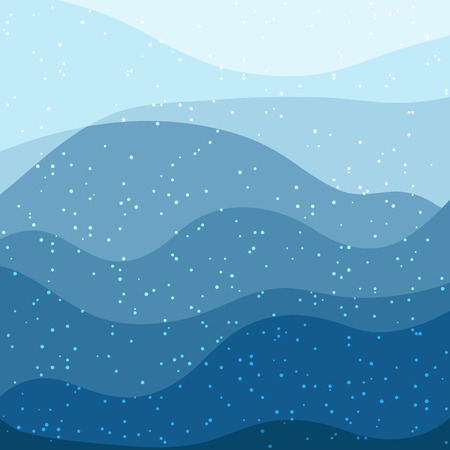 Winter abstract frame with blue waves and falling snow. Vector image. Eps 10
