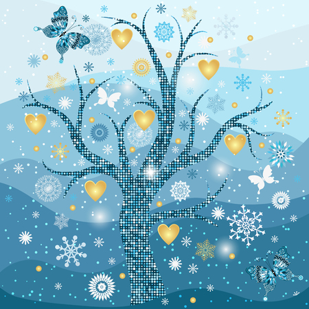 Winter frame with tree, snowflakes and golden hearts for your design. Vector image. Eps 10