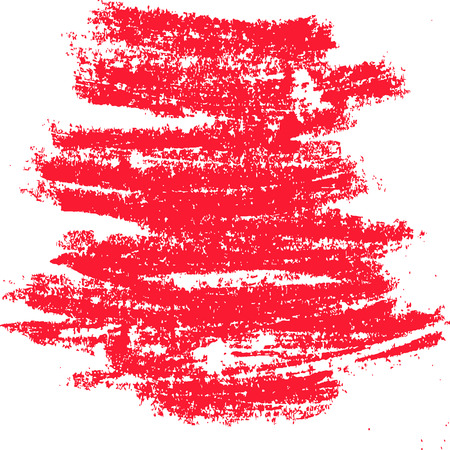 Red monochrome grunge stripes on transparent background, chalk. Frame, banner. Vector image. Eps 8 Illustration