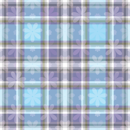 Gentle seamless pattern with colorful cells and flowers. Vector image. Eps 10