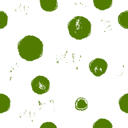 Seamless grunge monochrome pattern with green polka dots on transparent background. Uneven placement. Vector image. Eps 8