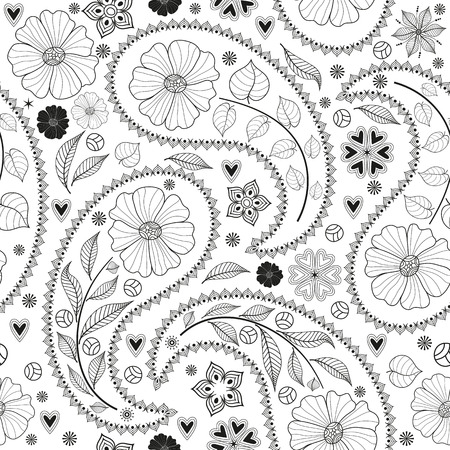 Seamless monochromatic black pattern with paisley and flowers on transparent background. Vector image. Eps 8 Illustration