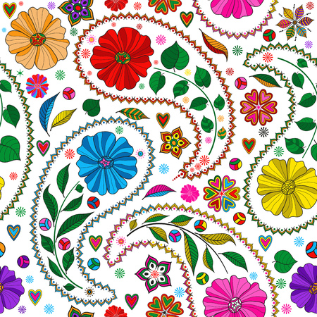 Seamless colorful pattern with paisley and flowers on transparent background. Vector image. Eps 8