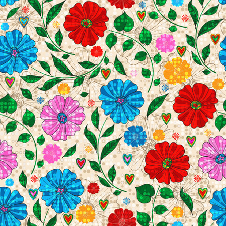 Seamless motley pattern with colorful doodle flowers and dots  on a dotted background. Vector image. Eps 10