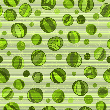 Seamless pattern with green polka dots with abstract pattern on a striped background. Vector image. Eps 10