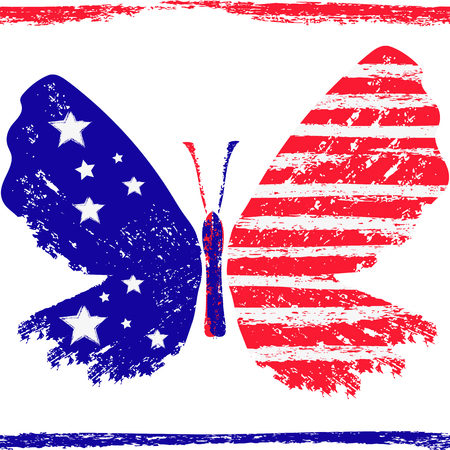 Bright tricolor red-blue-white grunge stylized butterfly with stars and stripes on a transparent background. Vector image. Eps 8
