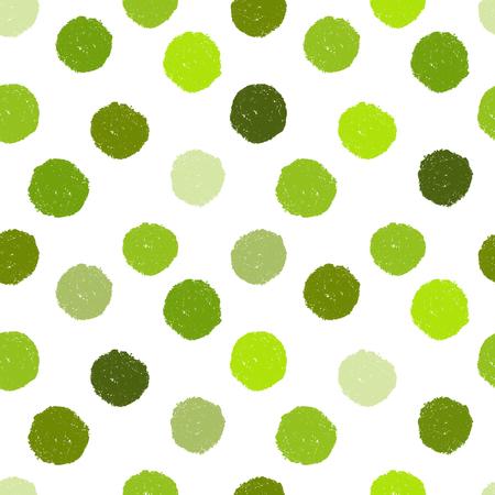 Motif grunge sans couture à pois verts sur fond transparent. Placement inégal. Image vectorielle. Eps 8