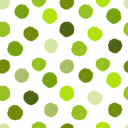 Seamless grunge pattern with green polka dots on transparent background. Uneven placement. Vector image. Eps 8
