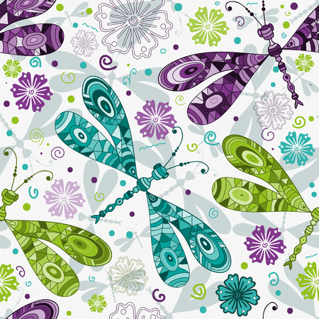 Seamless pattern with doodle mosaic colorful gragonflies and flowers on white background. Vector image. Eps 8