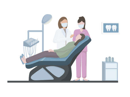 The dentist treats and examines the person. In the dentist's office, on a special medical chair and instruments. Medical personnel of the hospital. doctor and patient. information banner for the dent