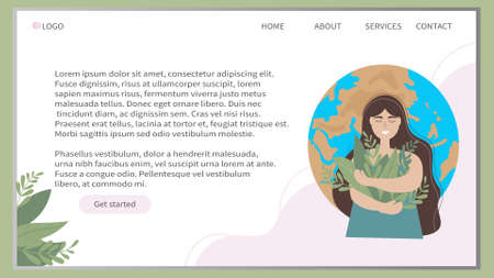 Web banner design template. The girl holds a bouquet of grass in her hands, against the background of our planet. Day of the Earth. The concept of nature conservation, ecology and environment. Vector