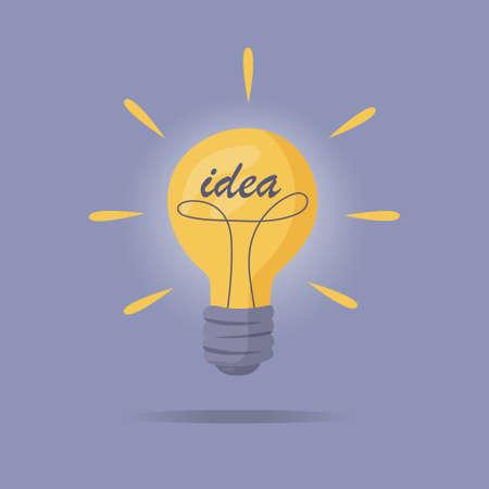 The light bulb is on. Vector illustration of incandescent lamp. The concept of creative and unique new idea, innovation. Vektoros illusztráció