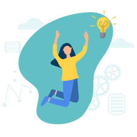 A woman jumps from happiness. A girl with a light bulb that shines. Vector illustration with the concept of business idea. Creative and analytical thinking