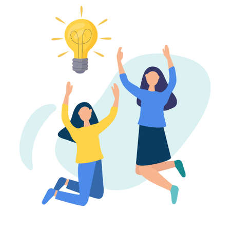Girls are jumping with happiness. The bulb that shines. Vector illustration with the concept of business idea. Teamwork. Creative and analytical thinking. Vecteurs