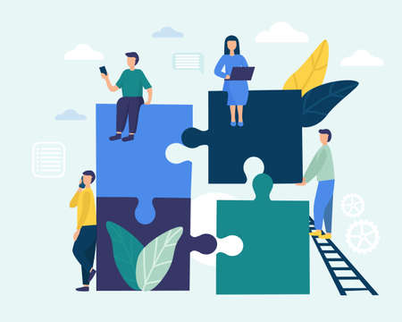People connect the parts of the puzzle. Business concept of teamwork. Successful cooperation and partnership. Timbling design. vector flat illustration.