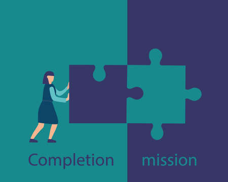 Business concept of mission completion, successful completion of a job or project. The person sets the last part of the puzzle. Execution of the plan is a vector flat illustration. Stock Illustratie
