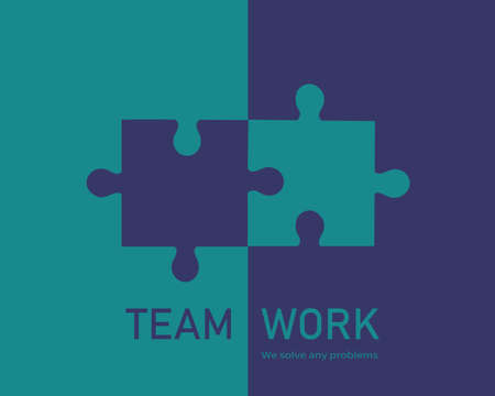 Vector puzzle game. Teamwork and bussiness concept.