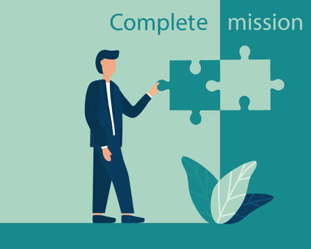 Business concept of mission completion, successful completion of a job or project.