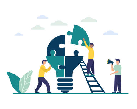 People connect the parts of the puzzle. Business concept of teamwork. Successful cooperation and partnership. Team building, increasing the efficiency of employees. vector flat illustration 向量圖像