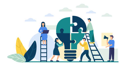 People connect the puzzle pieces in the form of a light bulb. Business concept of teamwork. Successful cooperation, partnership. Team building, increasing the efficiency of employees. Creative idea. vectorial flat illustration