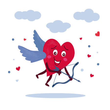 Amorous character. Red heart with wings in the sky, releases the arrow of love. Vector romantic illustration, for declaration of love feelings. Celebration of St. Valentine's day Иллюстрация
