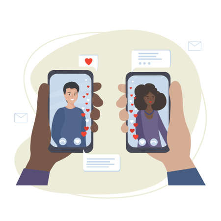 Dating and online communication. Virtual romantic date. Love during quarantine. Meeting a couple in love in a video chat via smartphone applications in social networks