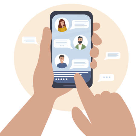 Online communication between a group of people using the mobile application, messenger. Group chat in your smartphone. phone in the hands. Talk during quarantine virtually over the Internet. Vector