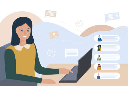 Vector illustration of remote work. Workplace home. Video chat, discussion of business processes. Online education, consultation. Group video conference. A person at the laptop, chatting with friends Çizim