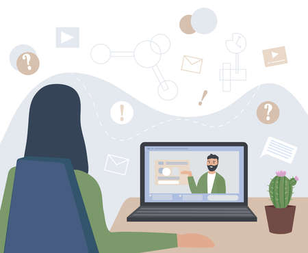 Woman works remotely. Listens to lectures and learns. Homeworkplace with a table and a laptop. Virtual communication. Online education, consultation with a specialist. Vector flat illustration.