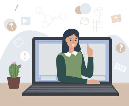 Woman works remotely. Home workstation with a table and a laptop. Virtual communication. Online education, consultation with a specialist. Vector flat illustration Stock Illustratie